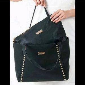 Diamond Studded Zip Tote Handbag & Crossbody Black
